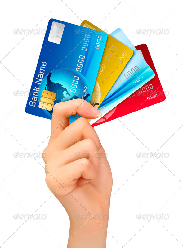 Hand Holding Credit Cards - Business Conceptual