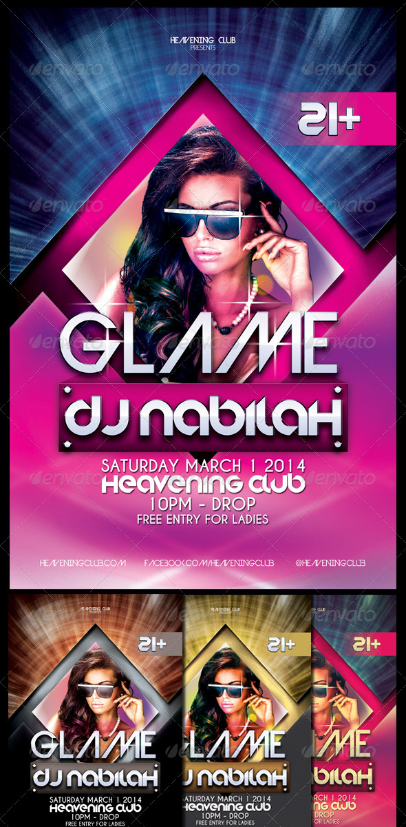 Glame Party Flyer Template - Events Flyers