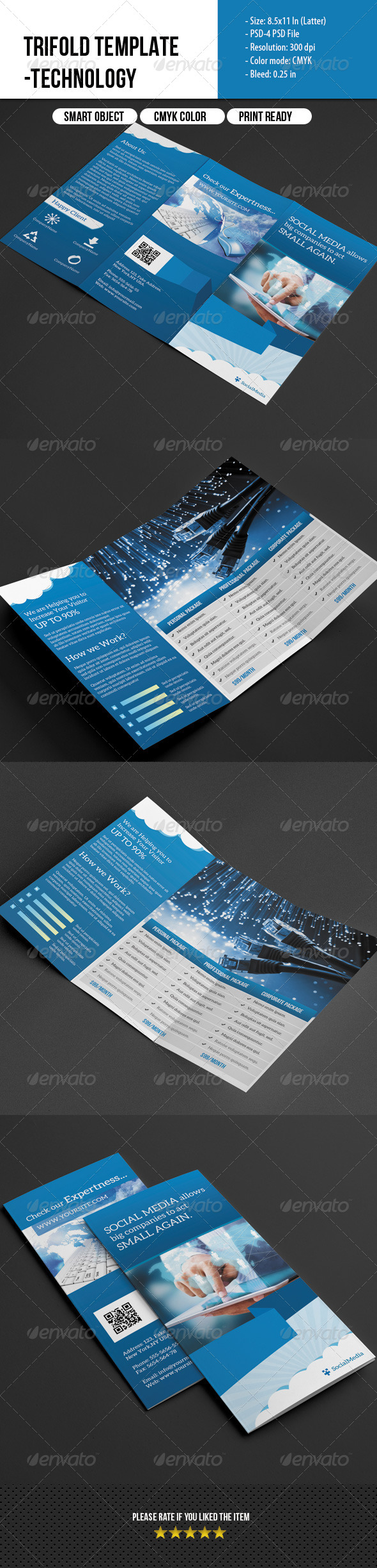 Trifold Template- Social Media Marketing  - Corporate Brochures