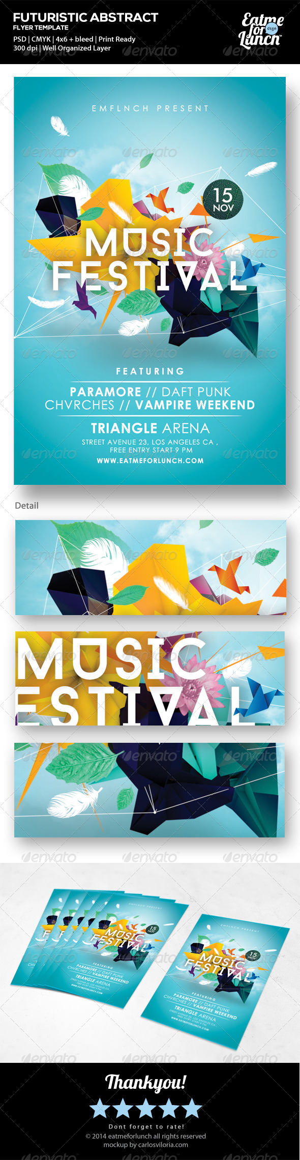 Futuristic Abstract Gigs/Festival Flyer Templates - Concerts Events