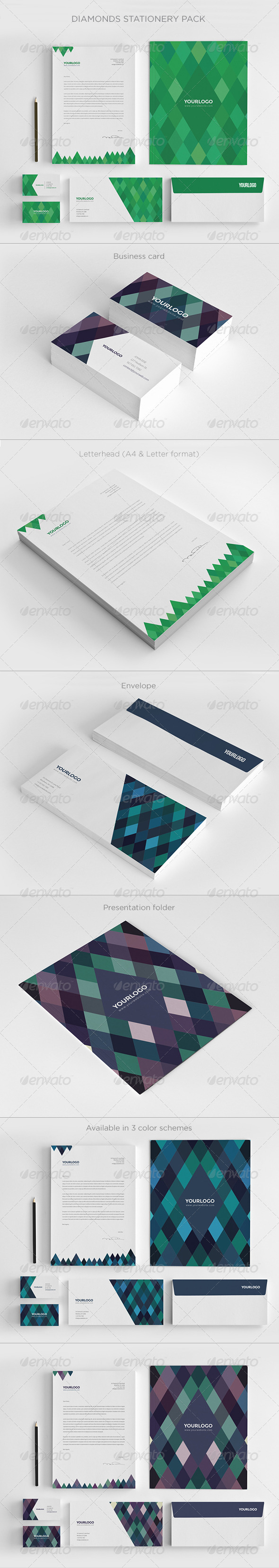 Diamonds Stationery Pack - Stationery Print Templates
