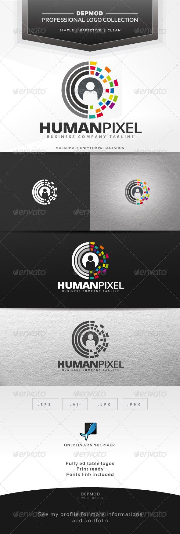 Human Pixel Logo - Symbols Logo Templates