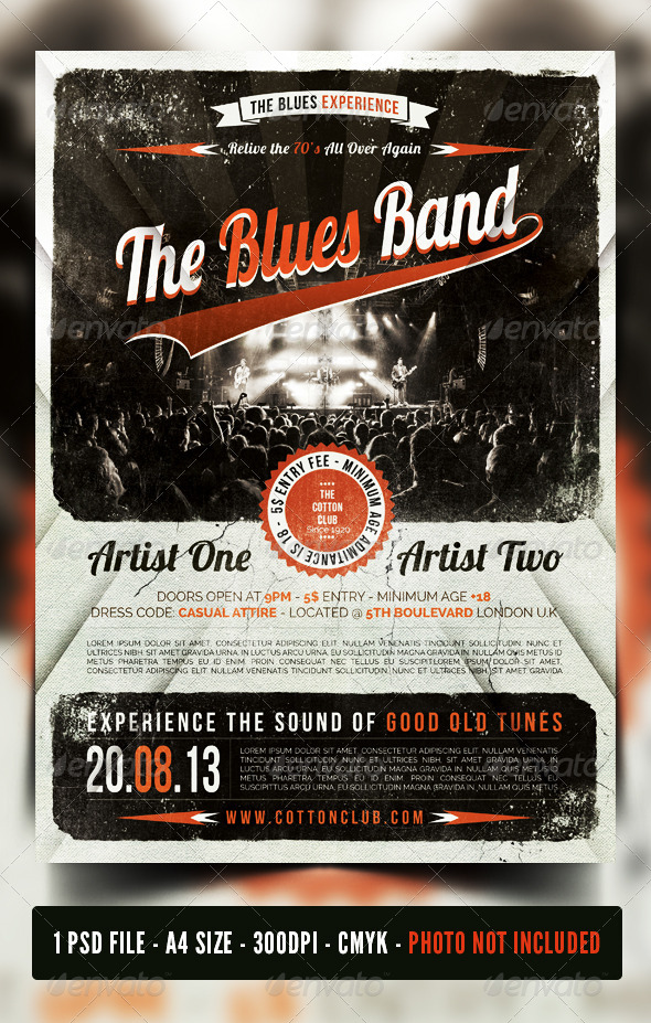 Indie Rock - Blues - Jazz  Vintage Flyer / Poster  - Concerts Events