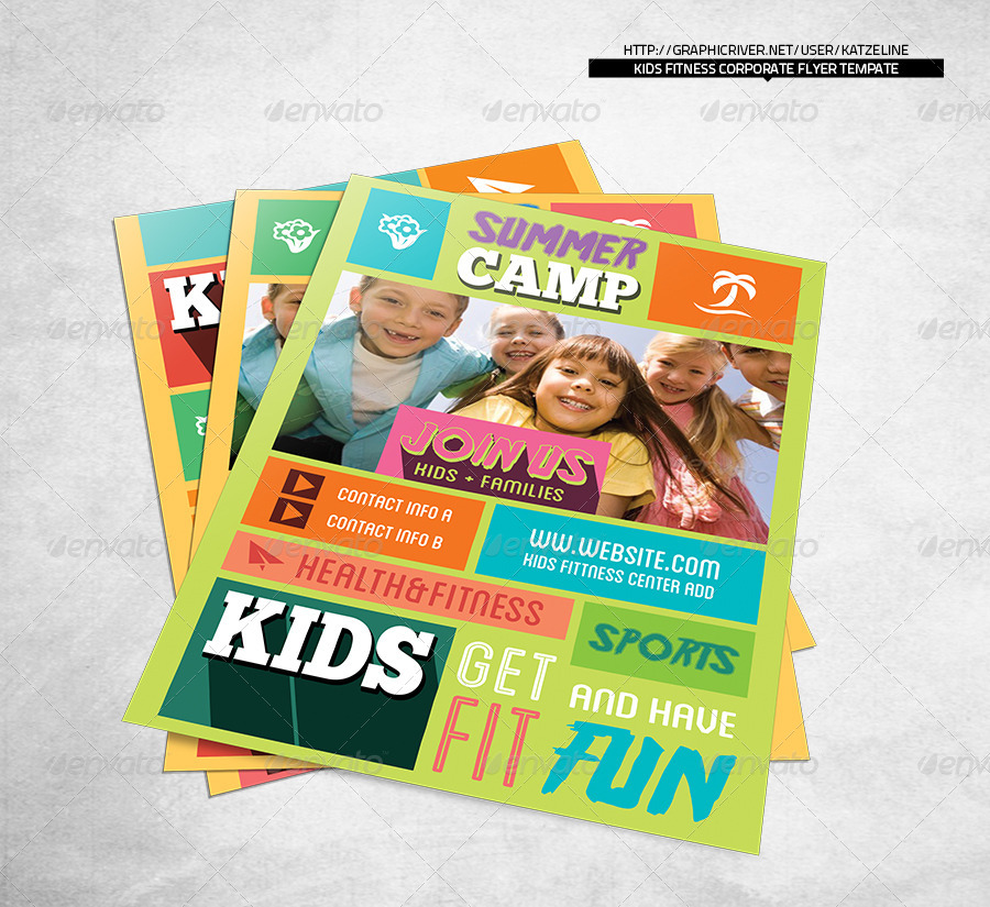 Kids Fitness Camp Flyer Template By Katzeline Graphicriver