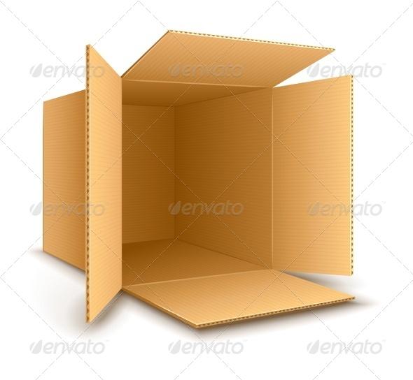 Open Empty Cardboard Box - Man-made Objects Objects
