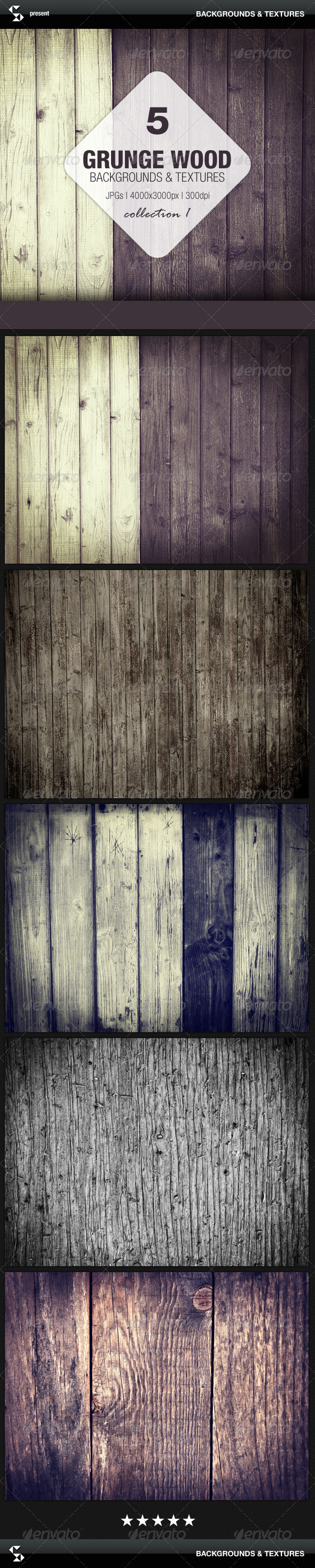 Grunge Wood Backgrounds - Collection 1 - Nature Backgrounds