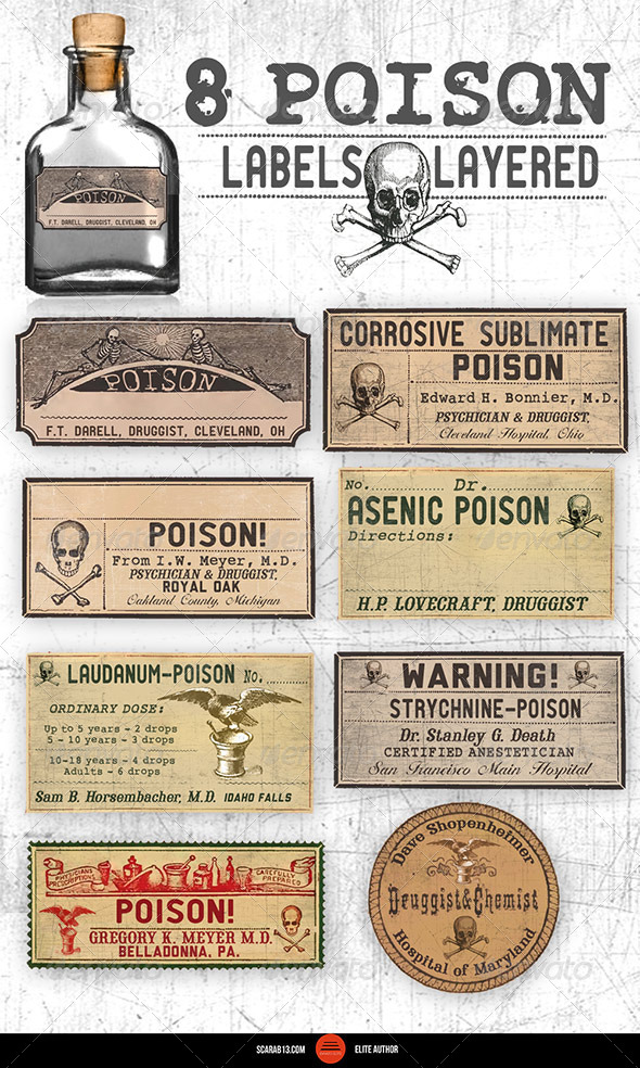 8 Editable, Layered Poison Labels - Packaging Product Mock-Ups