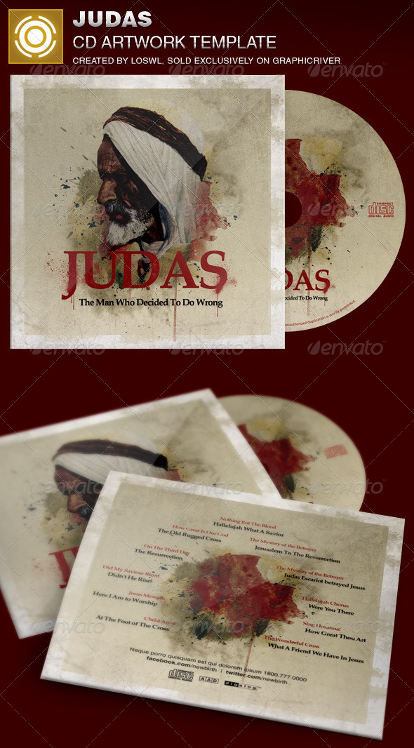 Judas CD Artwork Template - CD & DVD Artwork Print Templates