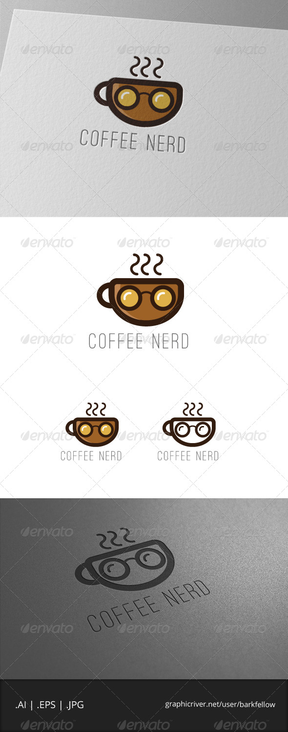 Coffee Nerd Logo Template - Food Logo Templates