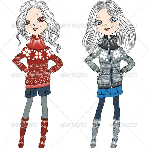 Fashion Hipster Girls in Knitted Sweaters - People Characters