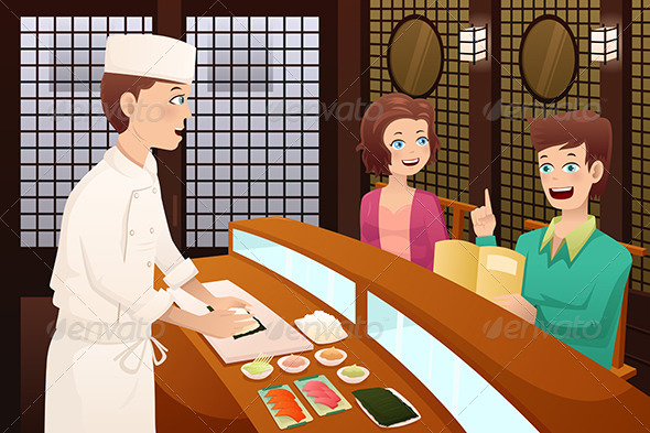 Customers Ordering Sushi - People Characters