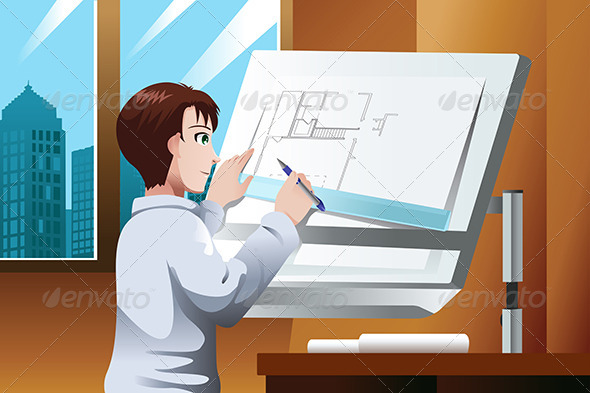 Architect Working in the Office - Business Conceptual