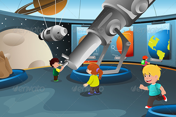Kids on a Field Trip to a Planetarium - People Characters