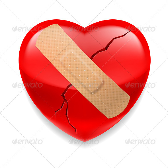 Cracked Red Heart with Plaster - Miscellaneous Vectors