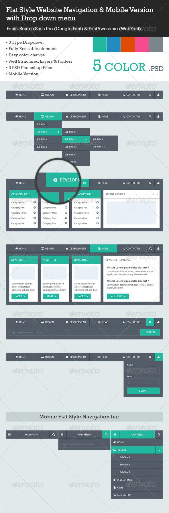 Flat Style Navigation Menu Bar - Navigation Bars Web Elements