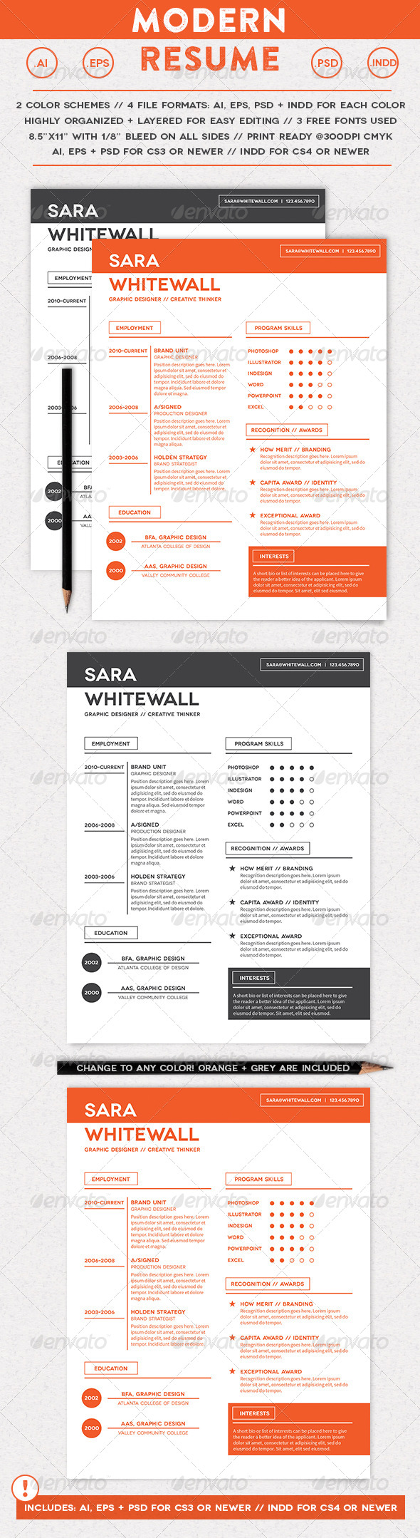 Modern Resume - Resumes Stationery