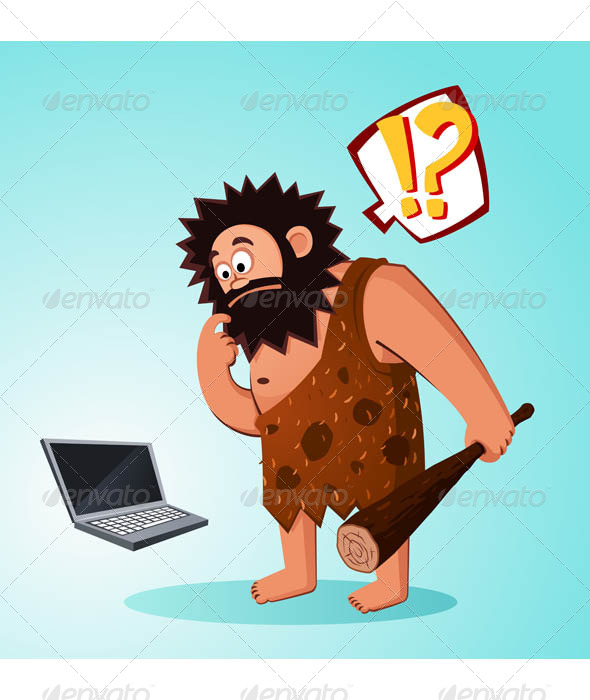 Caveman Found a Laptop - Computers Technology