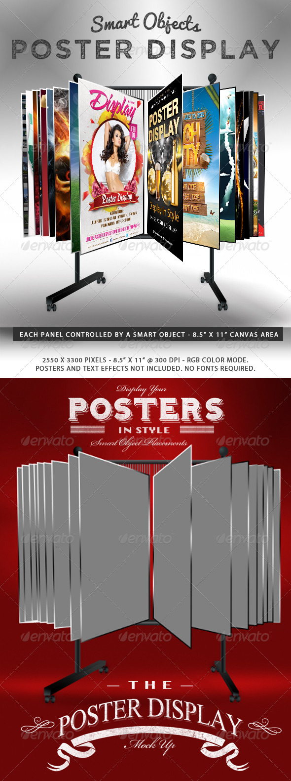 Smart Object Poster Display Stand Mockup - Posters Print