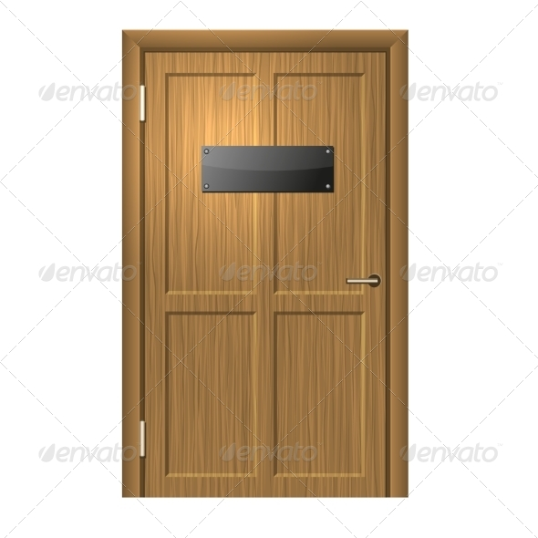 Realistic Wood Door with Blank Black Plate - Buildings Objects
