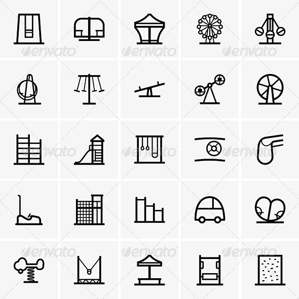 Amusement Park Icons - Sports/Activity Conceptual