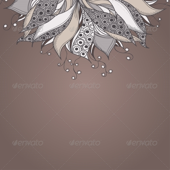 Template for Card with Fantasy Flower - Patterns Decorative