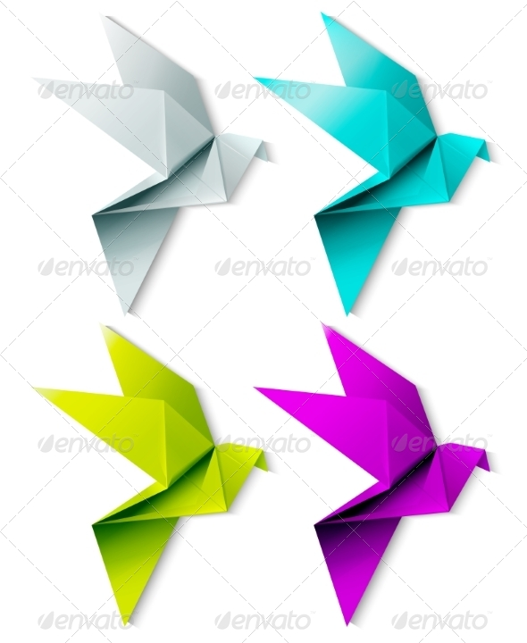 Set of Colorful Origami Birds - Animals Characters