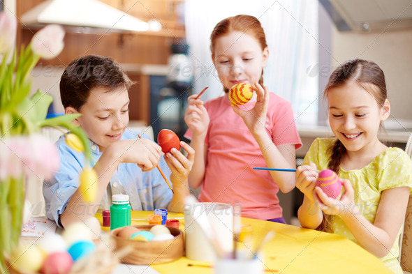 Painting eggs - Stock Photo - Images