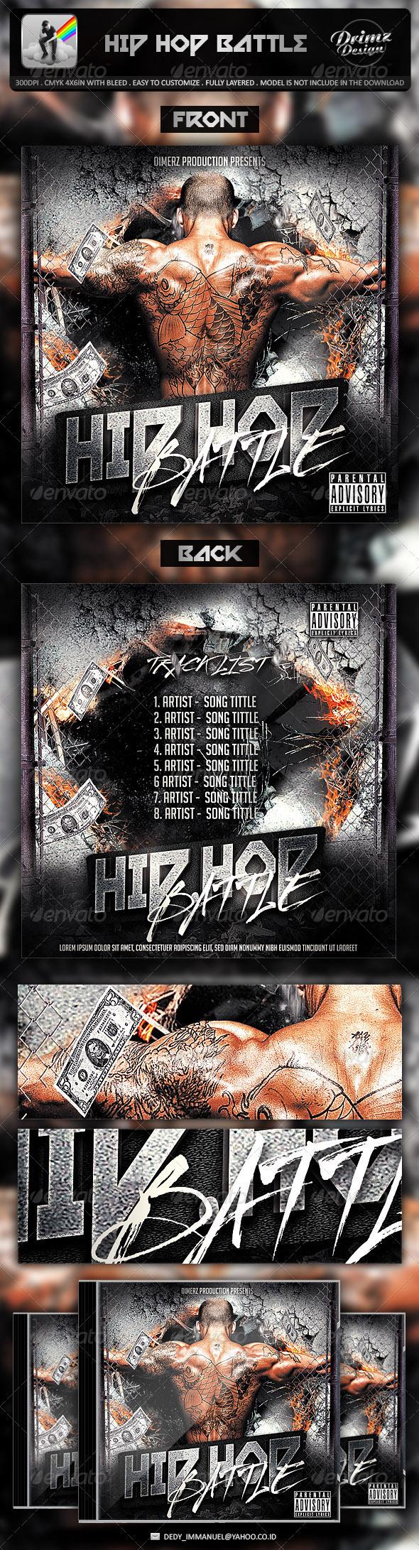 Hip Hop Battle Mixtape Template - CD & DVD Artwork Print Templates