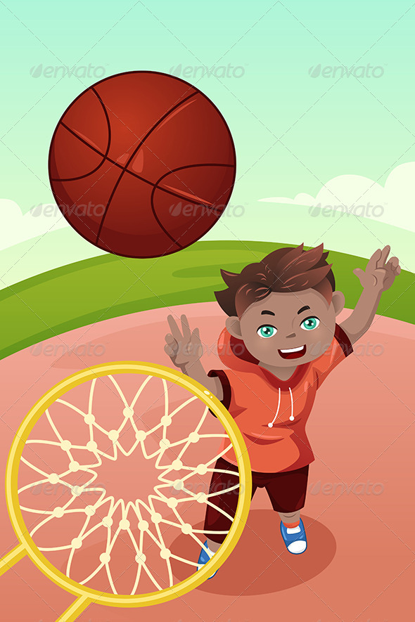 Kid Playing Basketball - Sports/Activity Conceptual