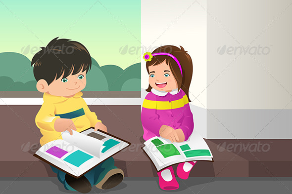 Kids Reading a Book - People Characters