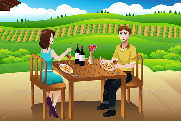 Couple Eating Lunch Picnic at a Winery - People Characters