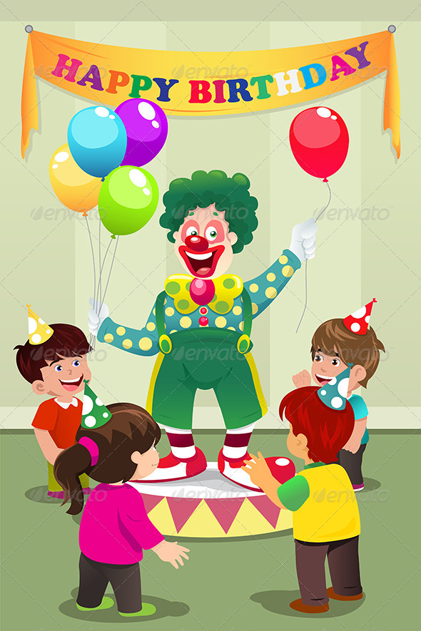Clown Carrying Balloons to Kids Birthday Party - People Characters