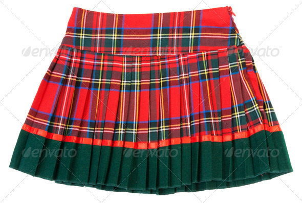 Plaid red feminine skirt - Stock Photo - Images