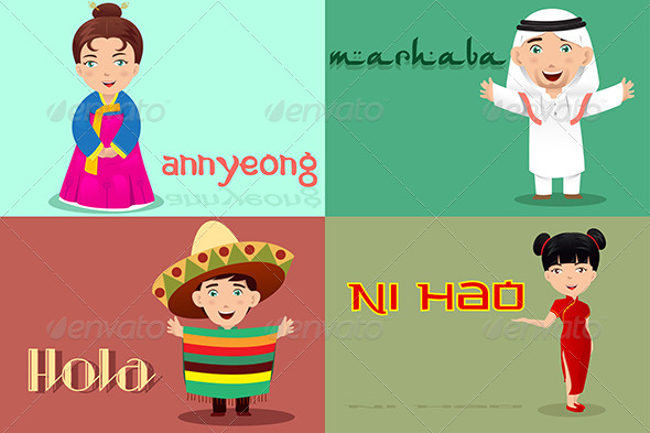 People from Different Cultures Saying Hello - People Characters