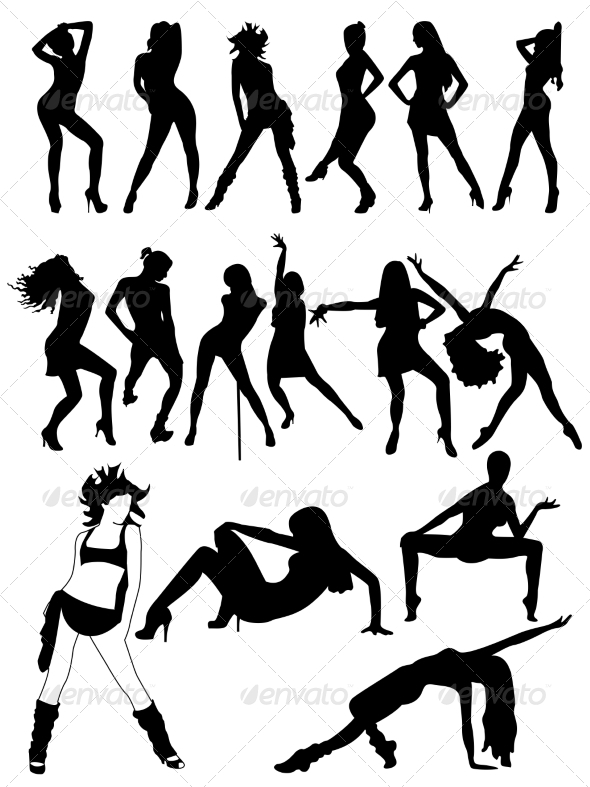 Set of Silhouettes of Dancing  Girls - People Characters