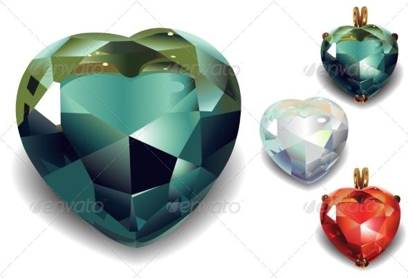 Set of Shiny Valentines Diamond Hearts - Decorative Symbols Decorative
