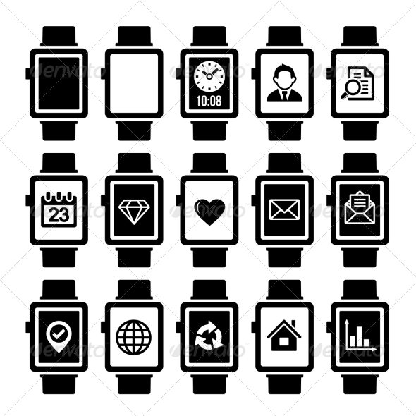 Smart Watch Icon Set. - Technology Icons