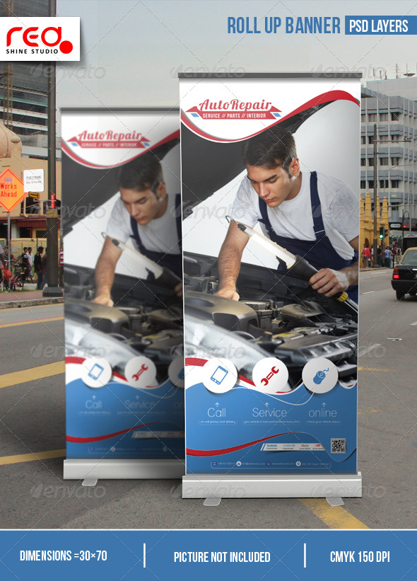 Auto Repair Promotion Roll-up Banner - Signage Print Templates