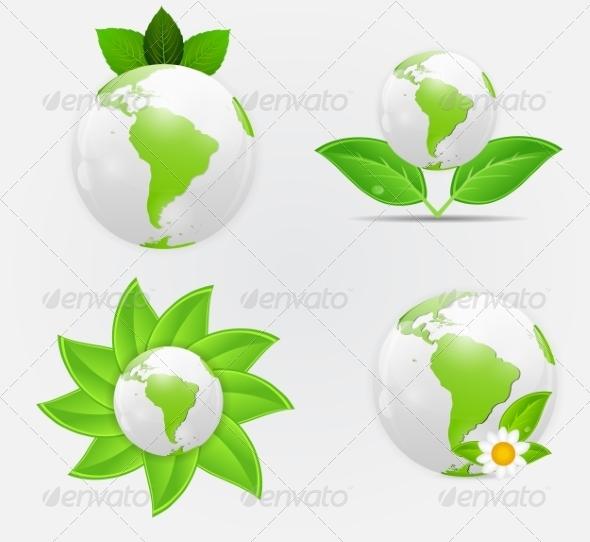 Green Eco Planet Concept - Decorative Symbols Decorative