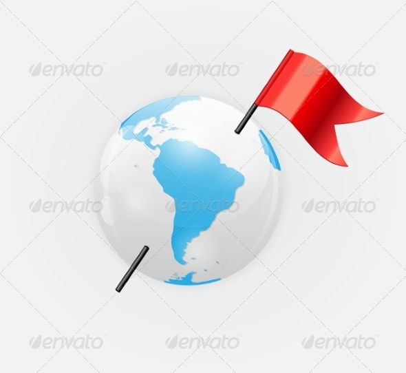 Earth Icon with Red Flag - Decorative Symbols Decorative
