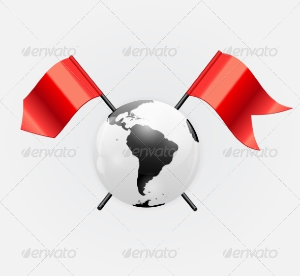 Earth Icon with Red Flags - Decorative Symbols Decorative