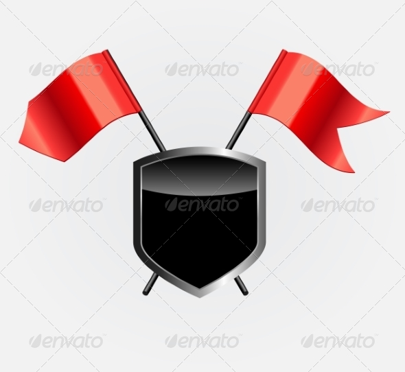 Protective Shield with Red Flags - Decorative Symbols Decorative