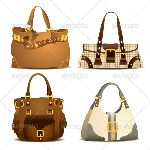 Woman Handbag Collection Set - Man-made Objects Objects