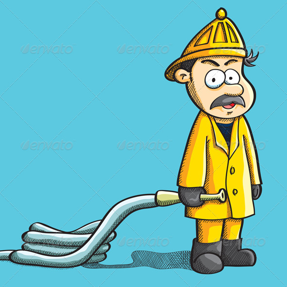 Fireman Holding Hose - People Characters