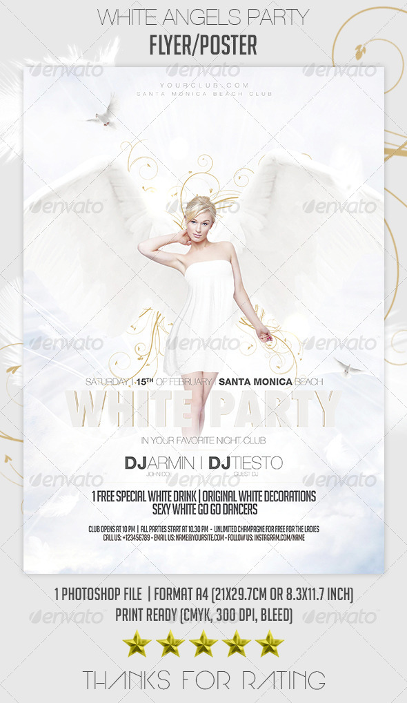 White Angels Party Flyer/Poster - Clubs & Parties Events