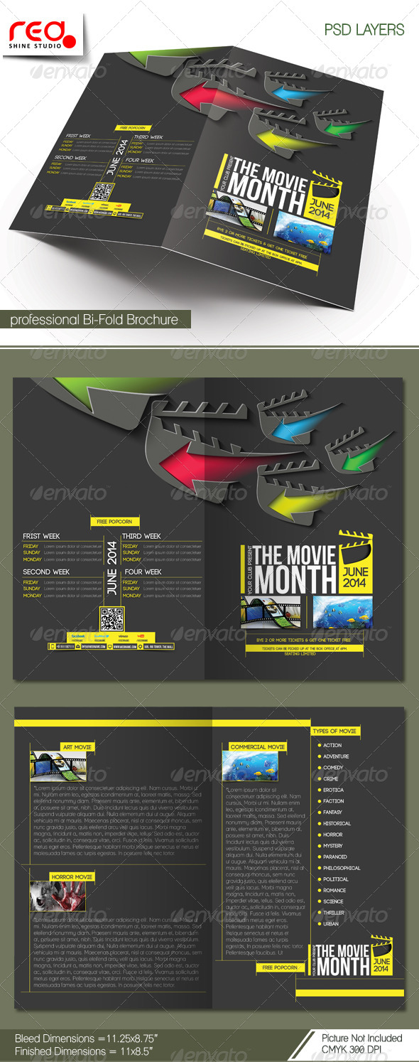 The Movie Month Bi-fold Brochure Template - Corporate Brochures