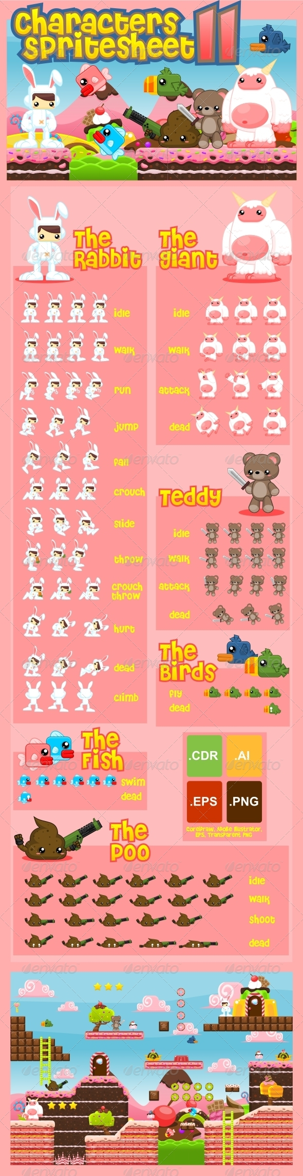 Characters Spritesheet 11 - Sprites Game Assets