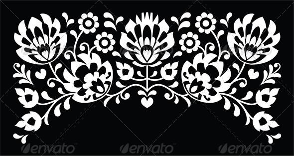 Polish Floral Folk White Embroidery Pattern  - Decorative Symbols Decorative