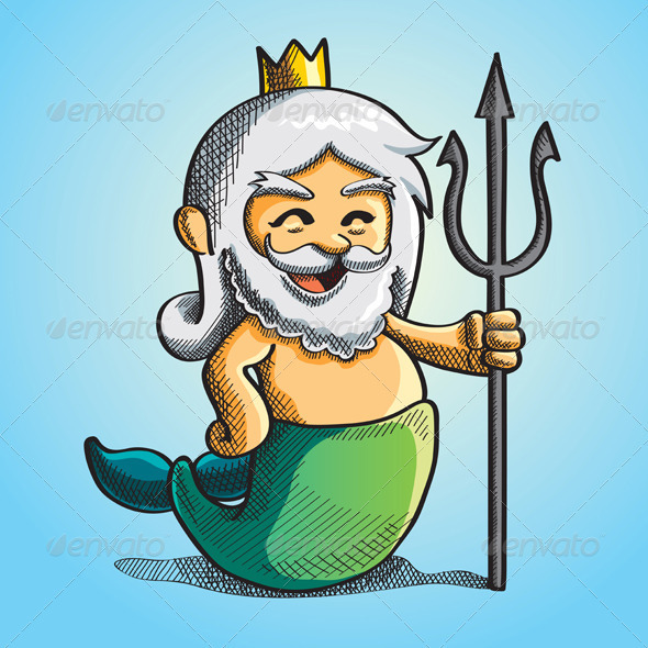 Happy Cute Poseidon - Characters Vectors