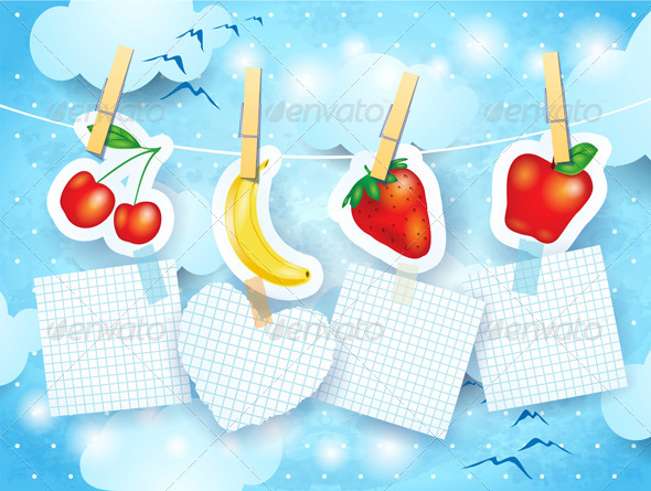 Fruits and Labels on Sky Background - Seasons Nature